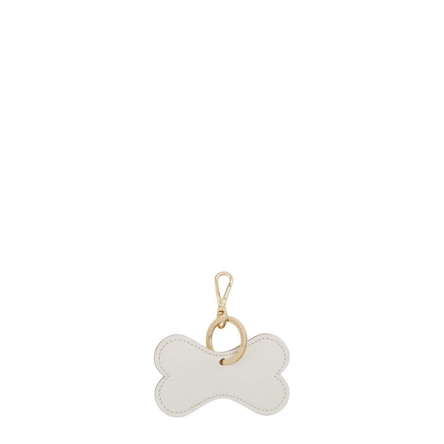 Dog Bone Keyring in Leather - White on Sand