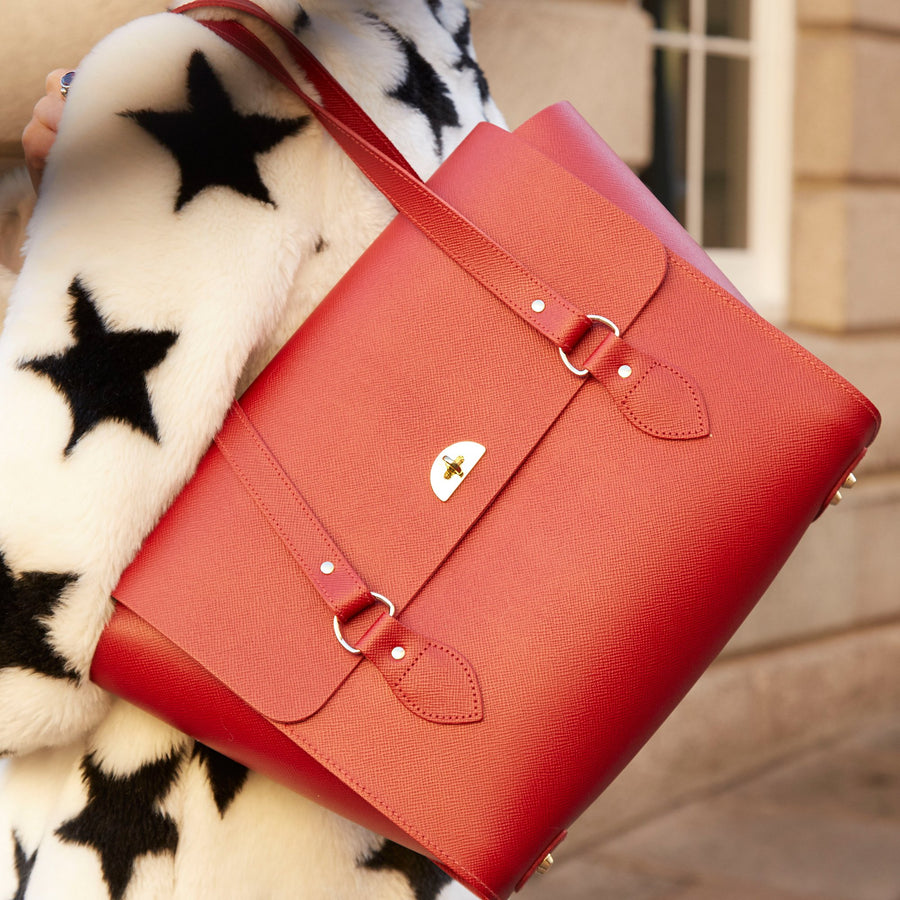 The Emily Tote - Red Saffiano