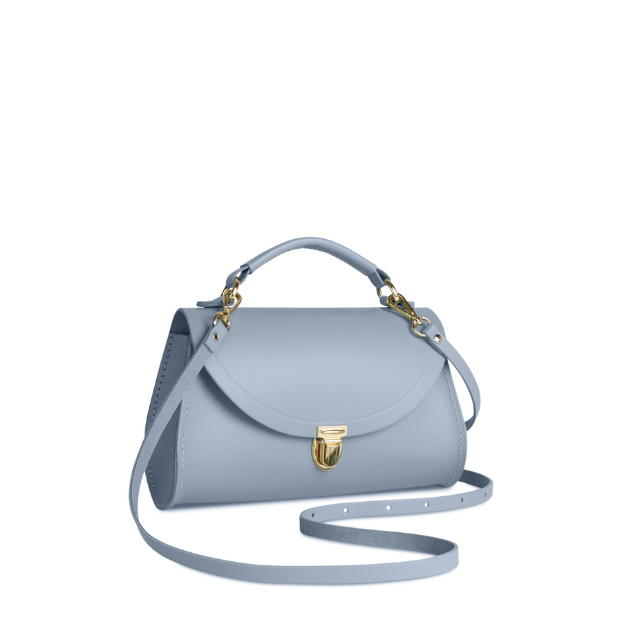 Mini Poppy Bag in Leather - French Grey