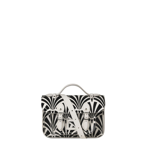 Magnetic Mini Satchel in Leather - Black Deco Print On Clay