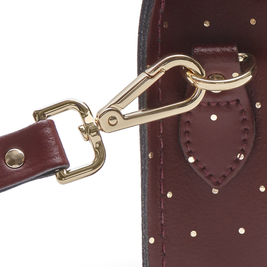 Magnetic Mini Satchel in Leather - Gold Dot on Oxblood