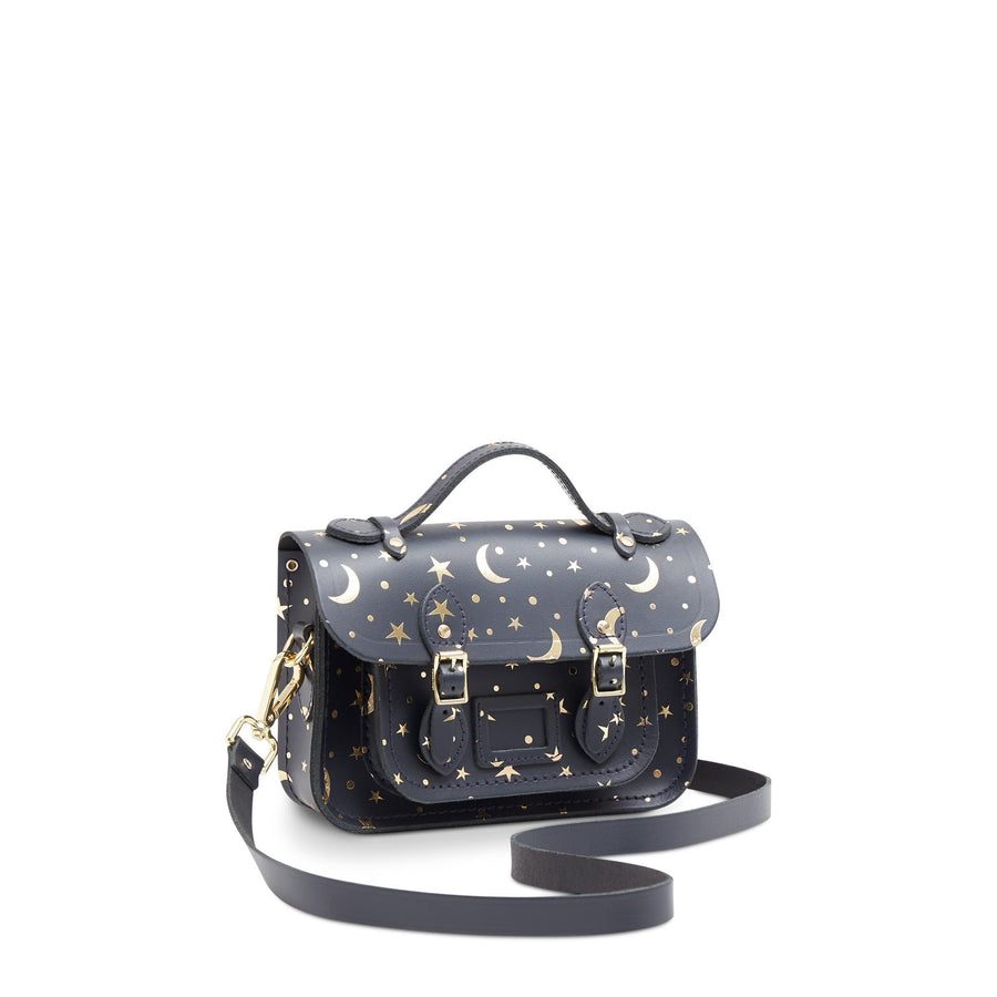 Magnetic Mini Satchel in Leather - Starstruck on Navy | Women's Cross Body Bag