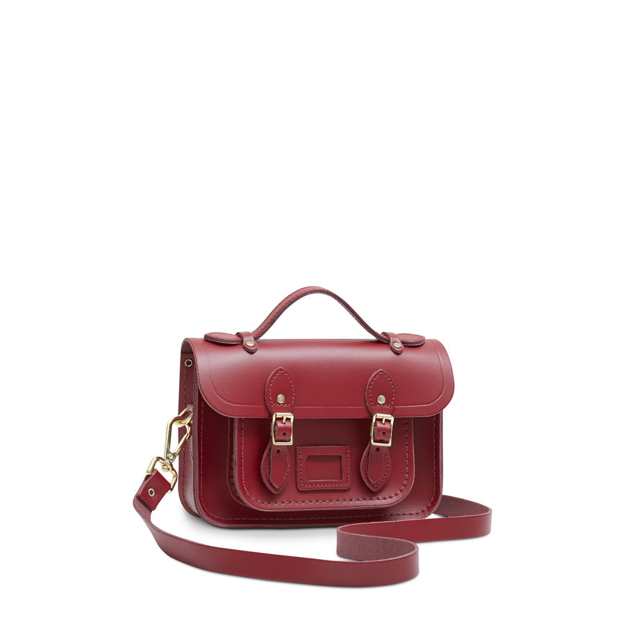 Magnetic Mini Satchel in Leather - Rhubarb Red | Cambridge Satchel