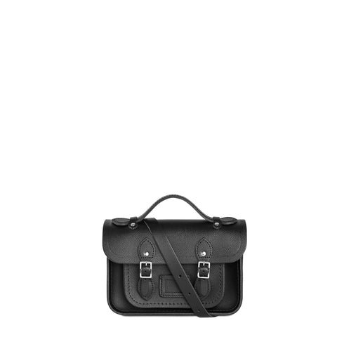 Magnetic Mini Satchel in Leather - Black Saffiano