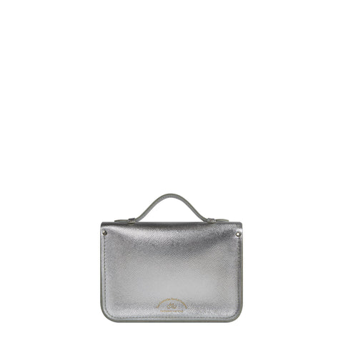 Magnetic Mini Satchel in Leather - Silver Saffiano