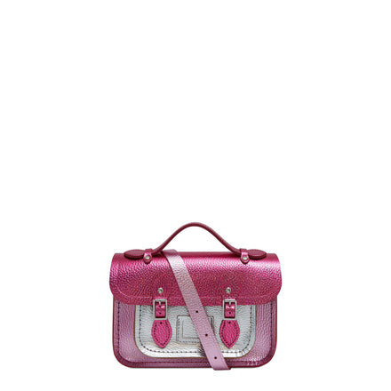 Magnetic Mini Satchel in Leather - Dark Fuschia, Light Fuschia & Silver Foil Metallic Celtic Grain