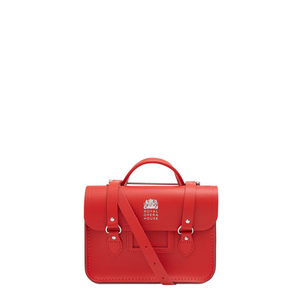 Melody Bag In Leather - Royal Opera House Red with ROH Logo in Silver Foil