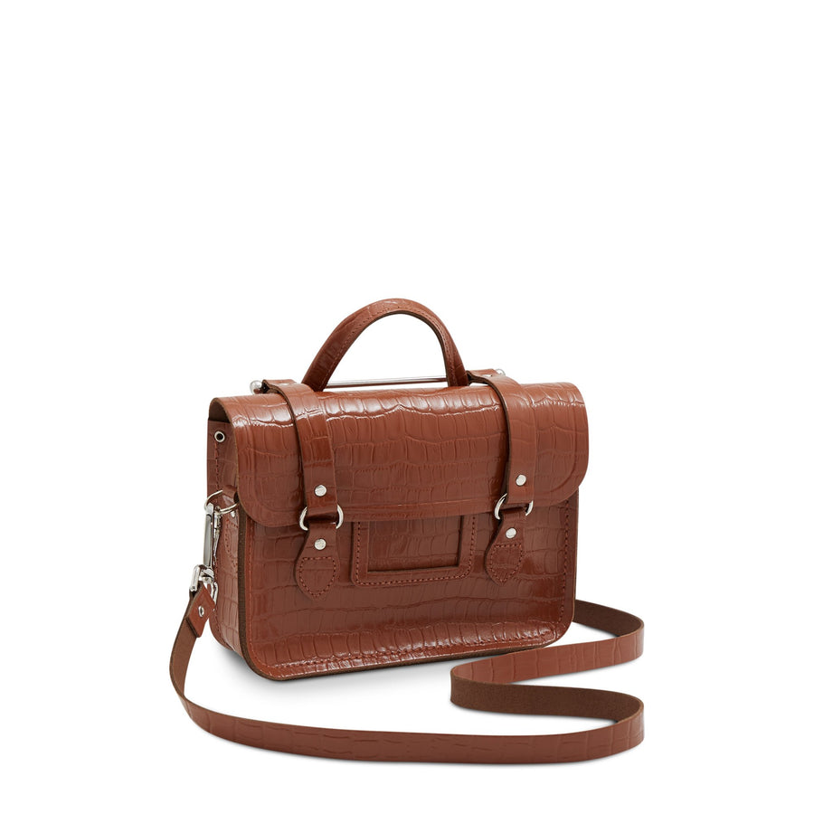 Melody Bag In Leather - Saddle Patent Croc