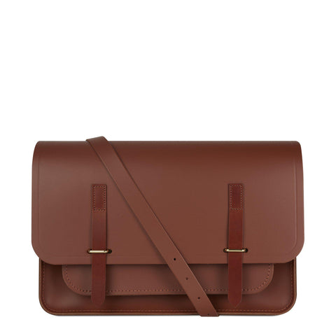 New Bridge Closure Bag in Leather - Saddle & Tan