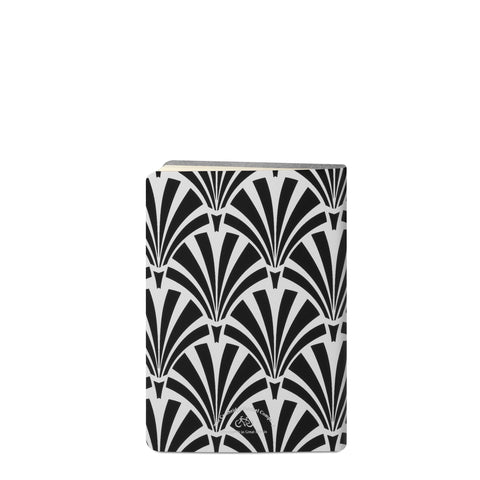 A5 Notebook in Leather - Black Deco Print On Clay