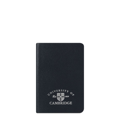 A6 University of Cambridge Notebook in Saffiano Leather - Navy Saffiano
