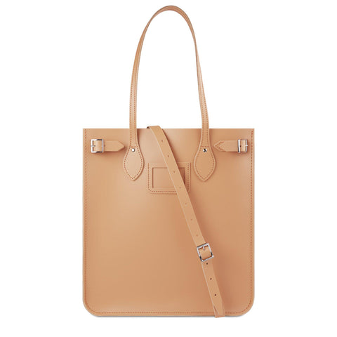 New North South Tote in Leather - Sand