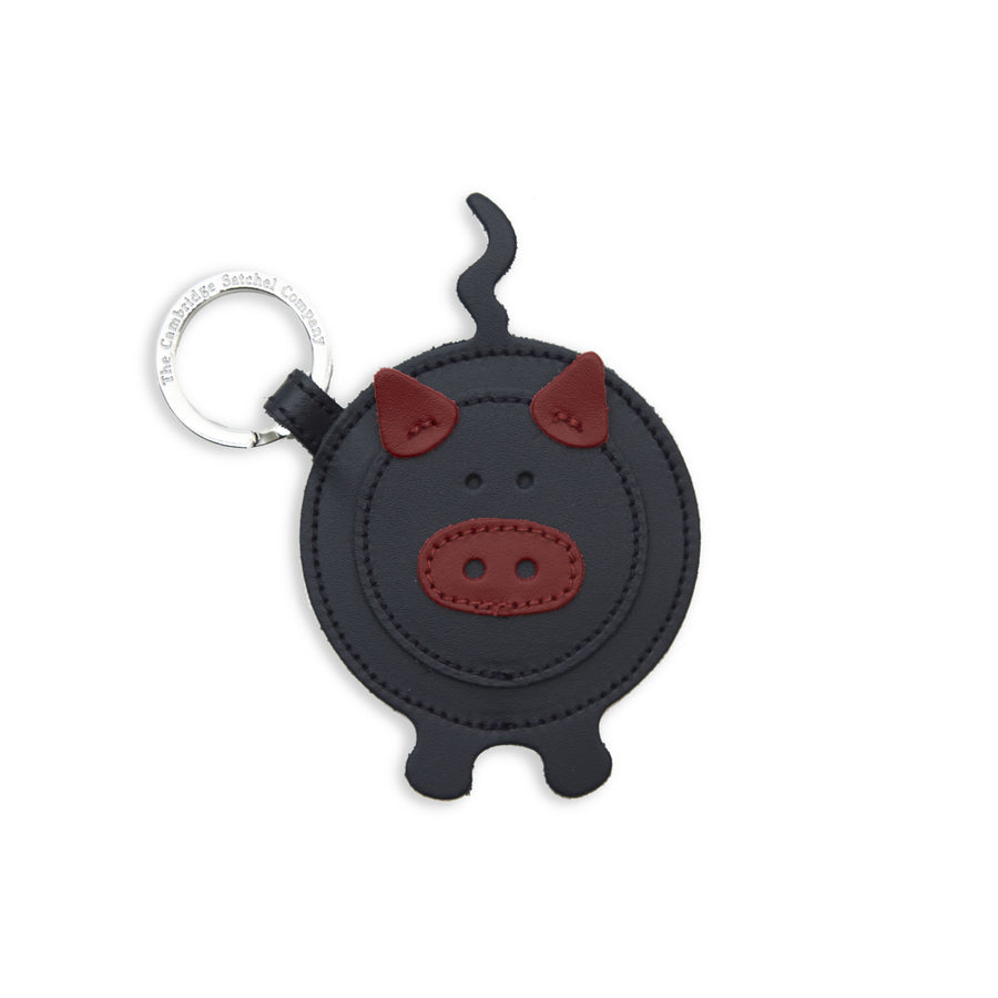 Patrick the Pig Keyring in Leather - Navy & Red