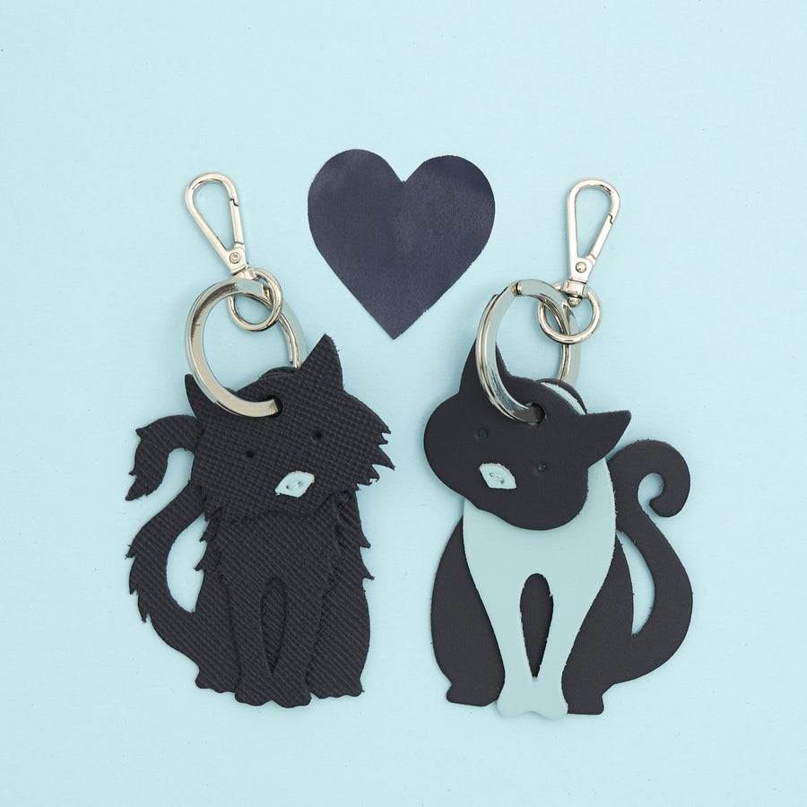 Fluffy Cat Charm in Leather - Navy Saffiano & Cambridge Blue