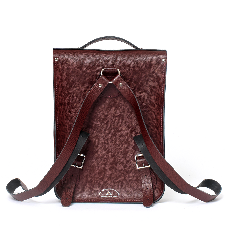 Portrait Backpack in Leather - Oxblood Saffiano