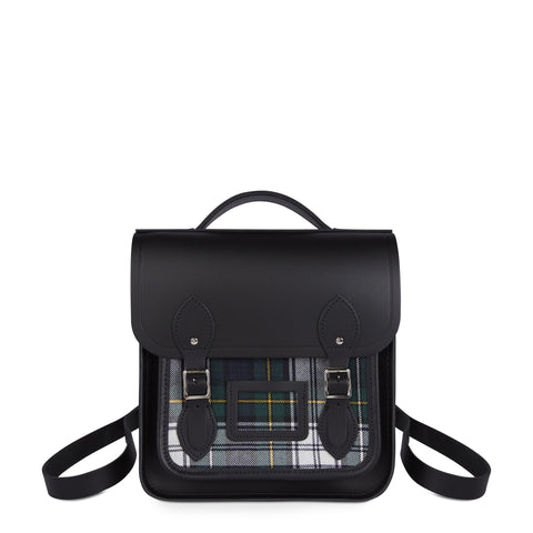 Small Portrait Backpack in Leather - Black & Black Tartan