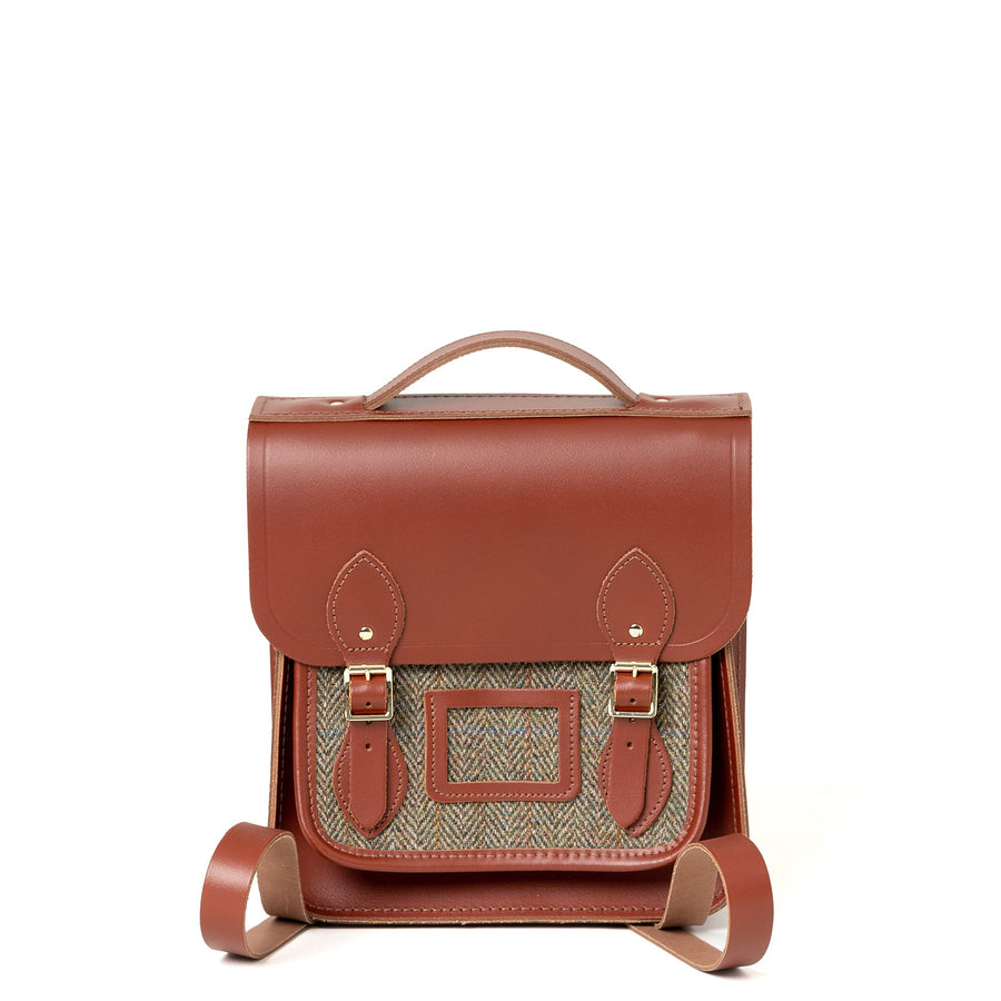 Brown with Green Tweed Cambridge Satchel Small Portrait Leather Backpack