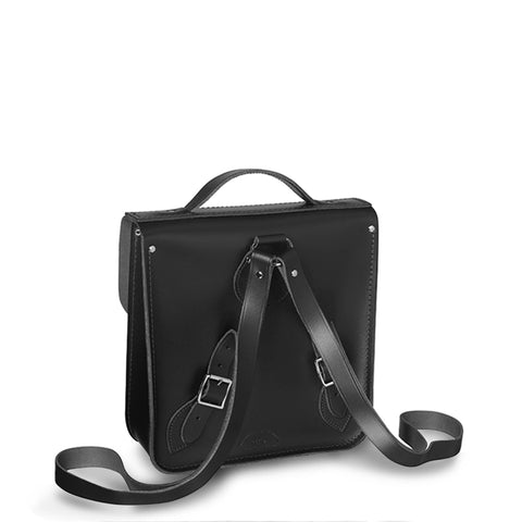 Small Portrait Backpack in Leather - Black