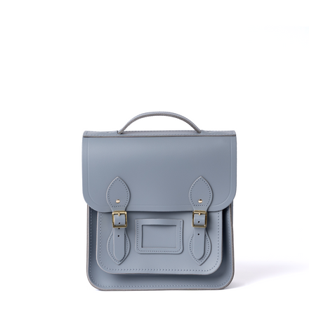 Small Portrait Backpack in Leather - French Grey