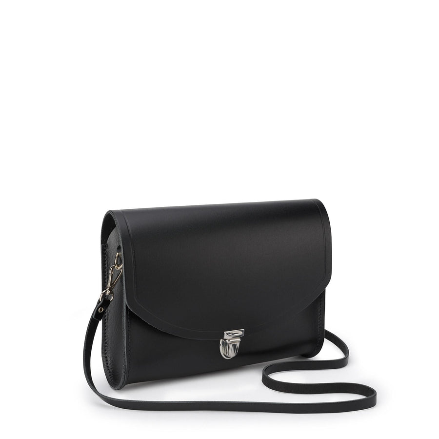Large Push Lock in Leather - Black