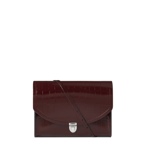 Large Push Lock in Patent Croc Leather - Oxblood Patent Croc
