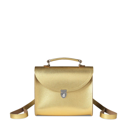 Poppy Backpack in Saffiano Leather - Gold