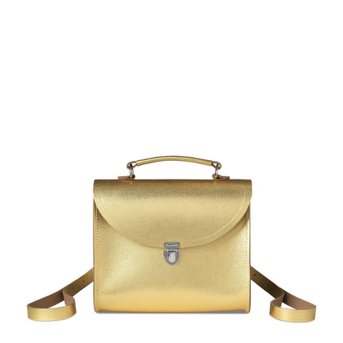Poppy Backpack in Saffiano Leather - Gold Saffiano