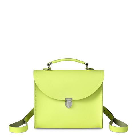 Poppy Backpack in Saffiano Leather - Neon Yellow Saffiano