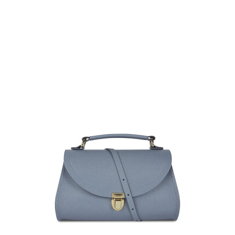 Mini Poppy Bag in Leather - French Grey Saffiano