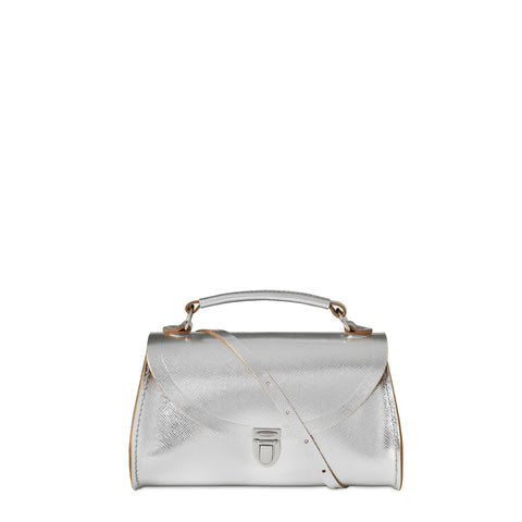 Mini Poppy Bag in Leather - Silver Saffiano