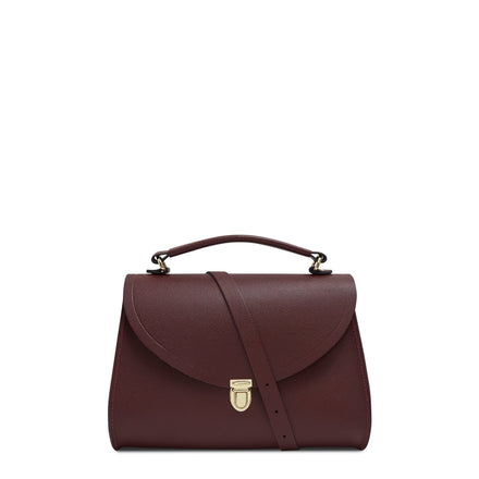 Poppy Bag in Leather - Oxblood Saffiano