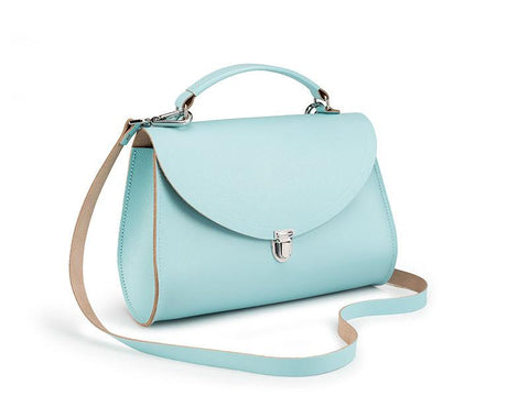 Mini Poppy Bag in Saffiano Leather - Cambridge Blue Saffiano