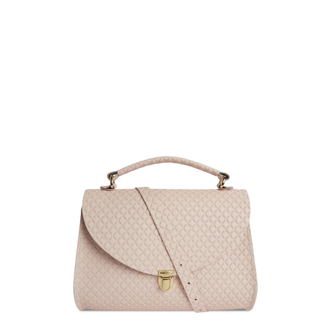 Poppy Bag in Leather - Cloud Pink Matte Quilt | Cambridge Satchel