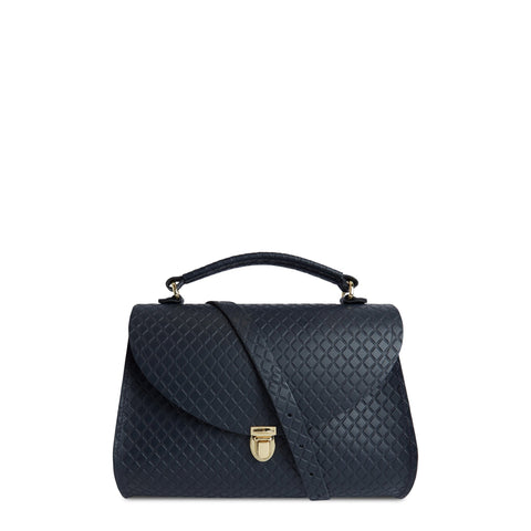Poppy Bag in Leather - Navy Quilt | Cambridge Satchel