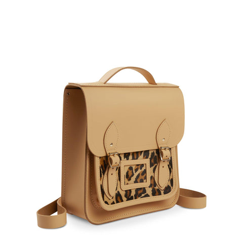 Small Portrait Backpack in Leather - Safari Sand with Leopard Print Haircalf Pocket