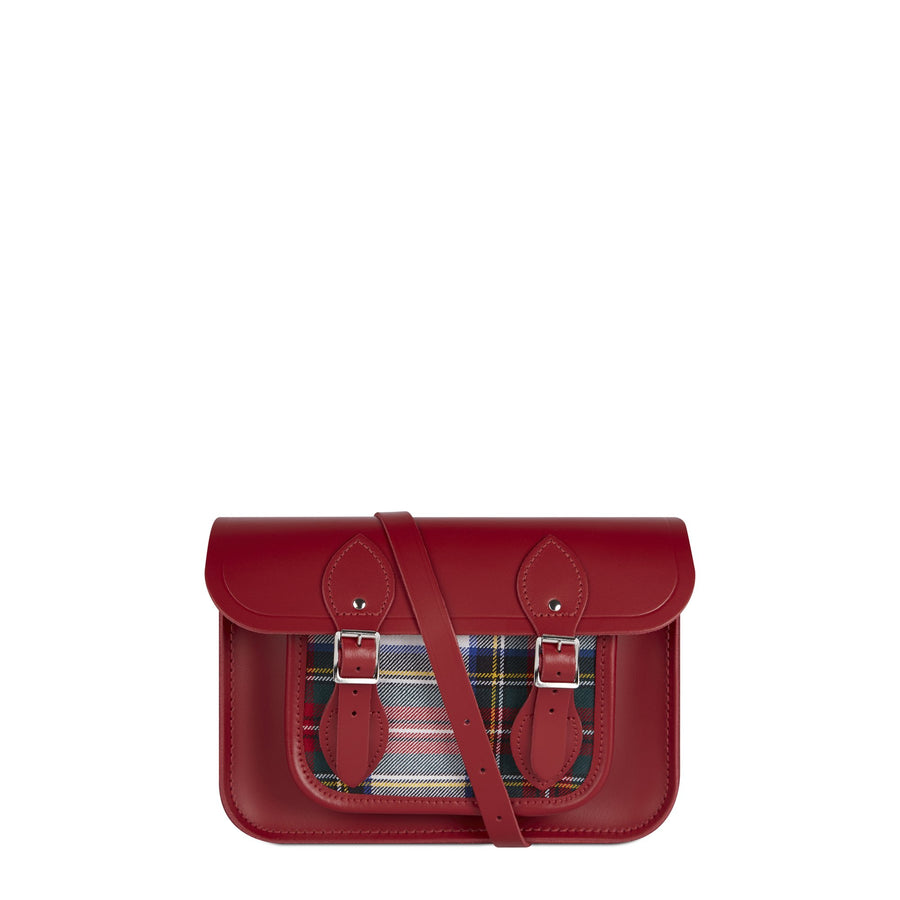 11 Inch Classic Satchel in Leather - Red & Red Tartan