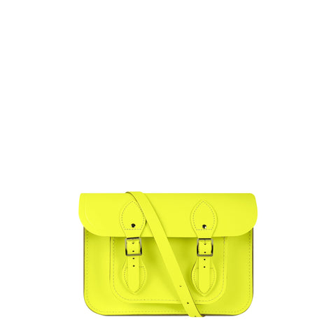 11 inch Magnetic Satchel in Leather - Fluoro Yellow