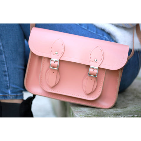 Womens- 11 inch Magnetic Satchel in Leather - Terracotta