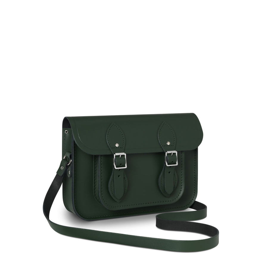 11 inch Magnetic Satchel in Leather - Racing Green
