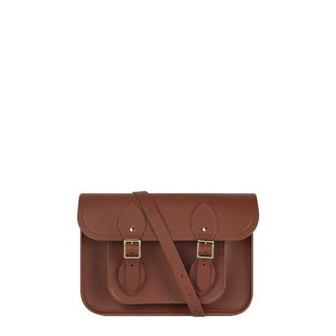 11 inch Magnetic Satchel in Leather - Saddle