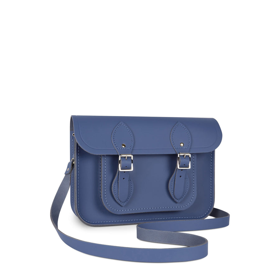 11 Inch Magnetic Satchel in Leather - Italian Blue Matte