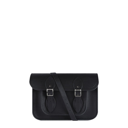 11 Inch Magnetic Satchel in Leather - Black Stripe Grain