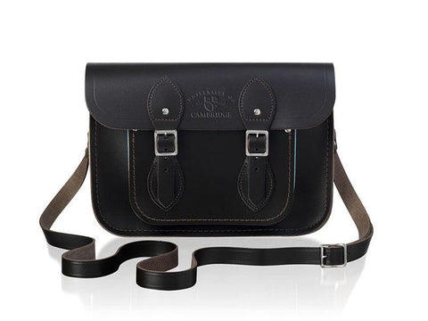 University of Cambridge 11 inch Satchel in Leather - Dark Brown & Cambridge Blue