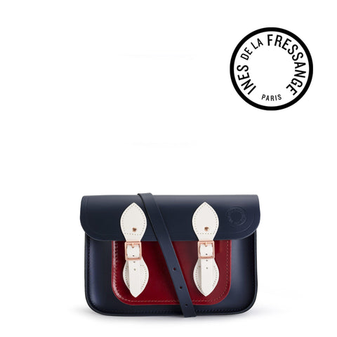 Ines De La Fressange 11 Inch Satchel in Leather - Navy & Clay