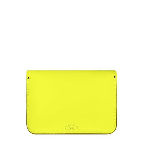 13 inch Magnetic Satchel in Leather - Fluoro Yellow