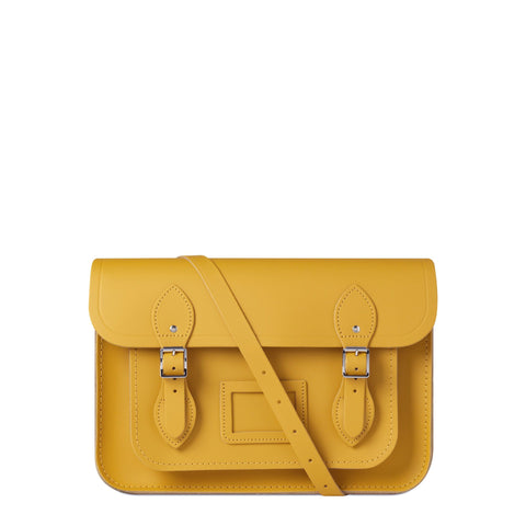 13 inch Magnetic Satchel in Leather - Mustard Matte