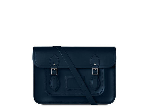 14 inch Magnetic Satchel in Leather - Navy