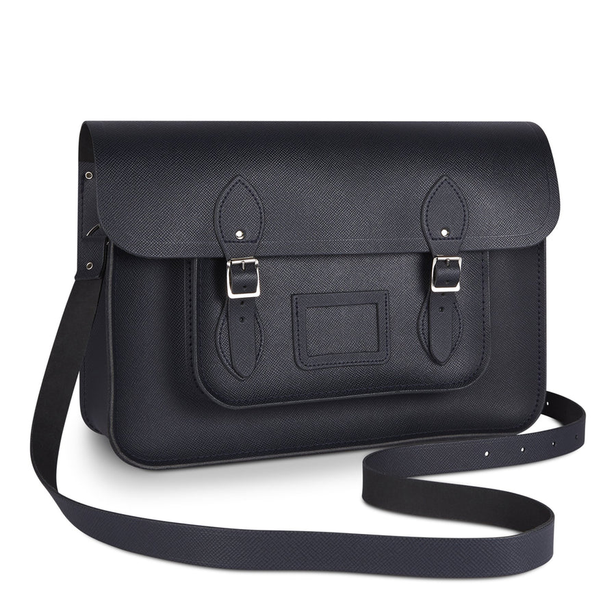 15 inch Classic Satchel in Leather - Navy Saffiano