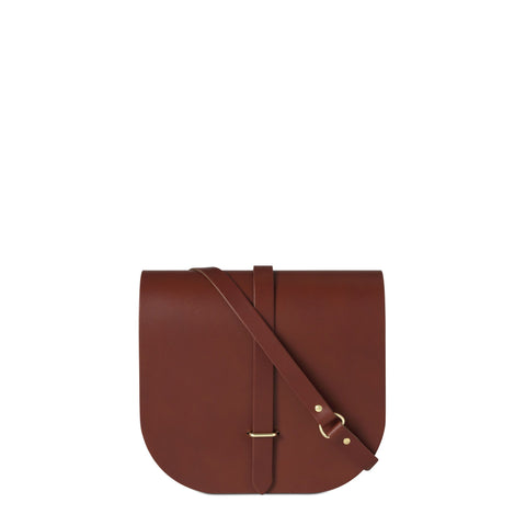 Large Saddle Bag in Leather - Brandy