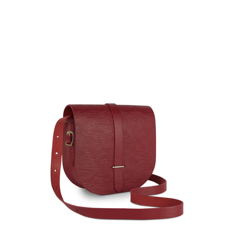 Saddle Bag in Leather - Red Stripe Grain